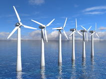 Wind turbines on the ocean Stock Images