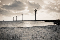 Wind turbines offshore Stock Photo