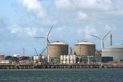 Wind Turbines and Oil Industry Royalty Free Stock Images