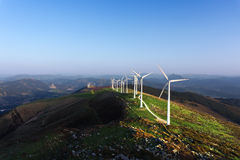 Wind turbines in Oiz eolic park Royalty Free Stock Image