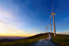 Wind turbines in Oiz eolic park Royalty Free Stock Images