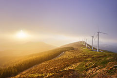 Wind turbines in Oiz eolic park Stock Photography