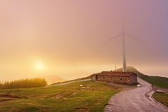 Wind turbines in Oiz eolic park Royalty Free Stock Photo
