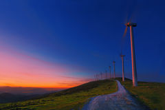 Wind turbines in Oiz eolic park at night Stock Images