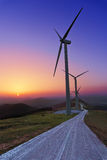 Wind turbines in Oiz eolic park. At sunset Stock Photography