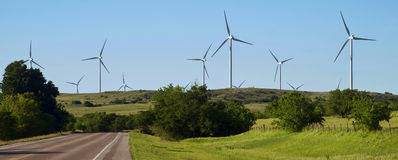 Wind Turbines in Oklahoma. Royalty Free Stock Image