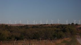 Wind Turbines in Oklahoma. This is a video of several Wind Turbines in Oklahoma stock footage
