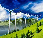Wind turbines onshore Royalty Free Stock Photos