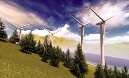 Wind turbines onshore Stock Images