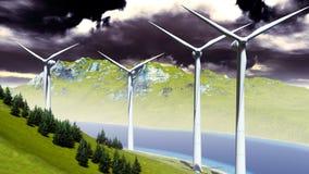 Wind turbines onshore Stock Photo