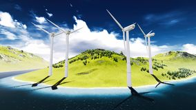 Wind turbines onshore Royalty Free Stock Images