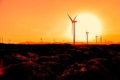 Wind turbines at orange sunrise.  Stock Photos