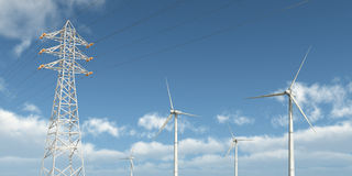 Wind turbines and overhead power line Royalty Free Stock Images