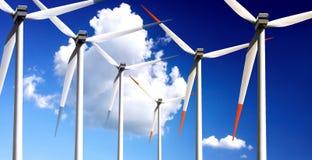 Wind turbines panorama Stock Image