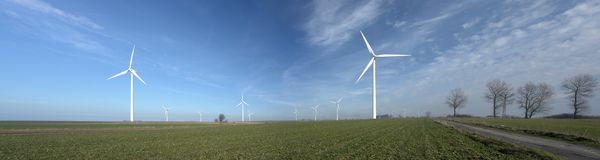 WIND TURBINES PANORAMA royalty free stock images