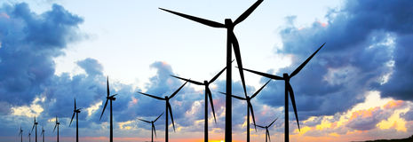 Wind turbines panorama Royalty Free Stock Photos