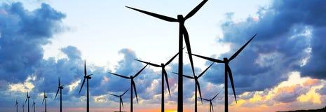 Wind turbines panorama Royalty Free Stock Photos