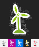 Wind turbines paper sticker with hand drawn Stock Photos