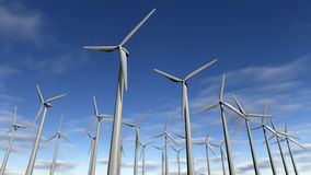Wind turbines park or windfarm. A 3D rendered image of wind turbines in a row at a windfarm. A close up of electric mills with more green energy generators at vector illustration