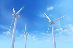 Wind Turbines. Photoreal 3D rendering royalty free stock photos