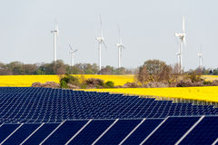 Wind turbines and photovoltaic plant. With rape field Stock Image