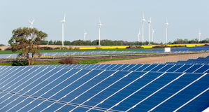 Wind turbines and photovoltaic plant Stock Image