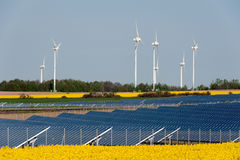 Wind turbines and photovoltaic plant Royalty Free Stock Photography