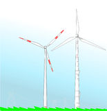 Wind turbines on plain field. Two wind turbines propelled by wind on plain green field connected with electric power transmission towers behind Stock Photos