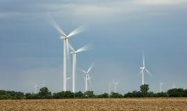 Wind turbines on the plains of Oklahoma stock photo