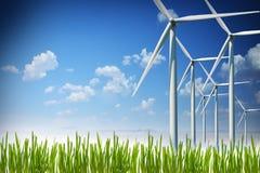 Wind turbines plant generating green or renewable energy Stock Photos
