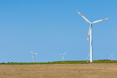 Wind turbines on plateau Paul da Serra, Madeira Stock Photos