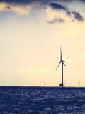 Wind turbines power generator farm along coast sea. Wind turbines power generator farm for renewable energy production along coast baltic sea near Denmark at Stock Photography
