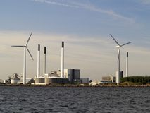 Wind turbines power generator farm in sea Royalty Free Stock Photography