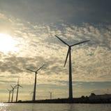 Wind turbines power generator farm in sea. Wind turbines power generator farm for renewable energy production along coast baltic sea near Denmark at sunset / Stock Photo