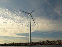 Wind turbines power generator farm in sea. Wind turbines power generator farm for renewable energy production along coast baltic sea near Denmark at sunset / Stock Images