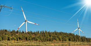 Wind Turbines and a Power Line Stock Images