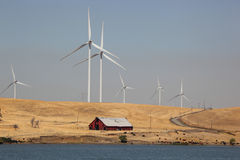 Wind Turbines and Power Lines Royalty Free Stock Images