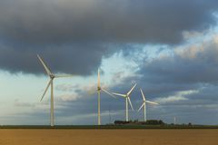 Wind turbines of a power plant for electricity generation in Normandy, France. Concept of renewable sources of energy Stock Photo
