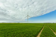 Wind turbines of a power plant for electricity generation in Normandy, France. Concept of renewable sources of energy Stock Image