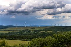 Wind turbines in a wind power plant for the production of renewable energy in the Czech Republic. Stock Image