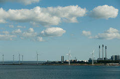 Wind turbines and power station Stock Photography