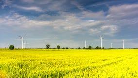 Wind turbines producing alternative energy. 4K timelapse stock footage