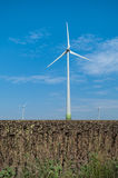 Wind turbines producing clean energy Stock Photography