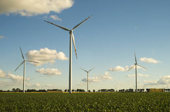 Wind turbines, pure energy,windmills in the fields Stock Photos
