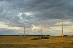 Wind turbines, pure energy,windmills in the fields. In Germany Royalty Free Stock Photo