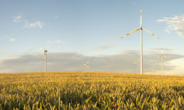 Wind turbines, pure energy,windmills in the fields. In Germany Stock Image