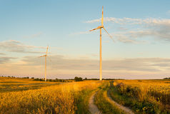 Wind turbines, pure energy,windmills in the fields Stock Image