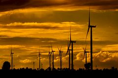 Wind turbines, pure energy,windmills in the fields. In Thailand stock image