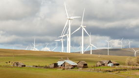Wind Turbines and Ranch Hoses in Goldendale WA 1080 stock footage