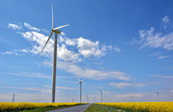 Wind turbines in rapes field Stock Images